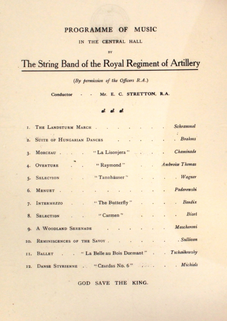 Programme of music at the reception