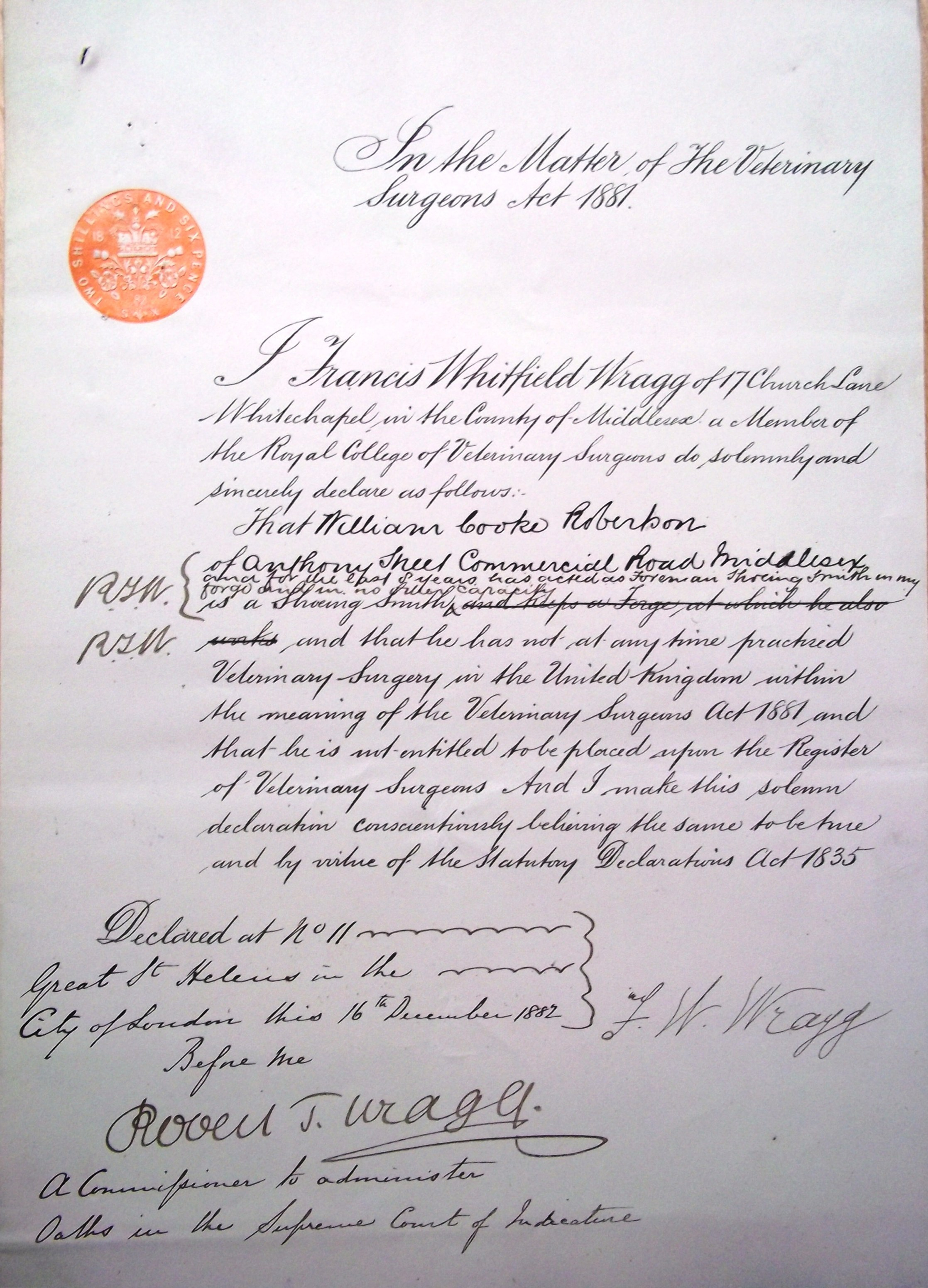 Wragg's letter of protest